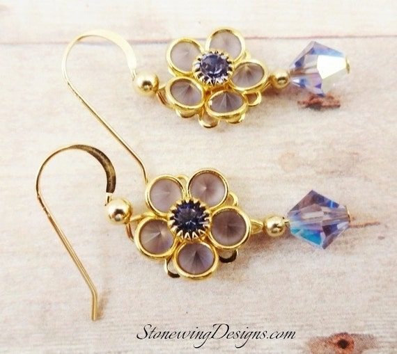 Swarovski Crystal Flower Earrings, Tanzanite Earrings, Swarovski Earrings, Tanzanite Crystal Earrings, 14k Gold Fill, Purple Earrings