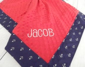 Monogrammed Minky Napping Blanket - Navy with White Anchors - Anchors Away - Shown with Red Minky - monogramming option