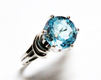 "Sky blue topaz, blue topaz ring, blue ring, banded topaz ring, solitaire ring, s 6 3/4  ""Sleeping Beauty"""
