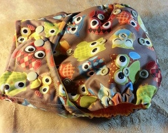 SassyCloth one size pocket cloth diaper with argyle owls PUL print. Made to order.