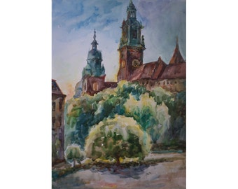 Original Watercolor Painting. The old palace at dawn.