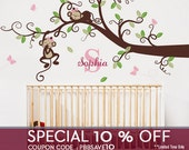 Wall Decal Baby Girl Nursery Decor : Branch Tree, Girl Monkeys and Custom Name - Nursery Wall Decal