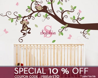 Girl Monkeys on long Branch Tree with Custom Name - Nursery Wall Decal