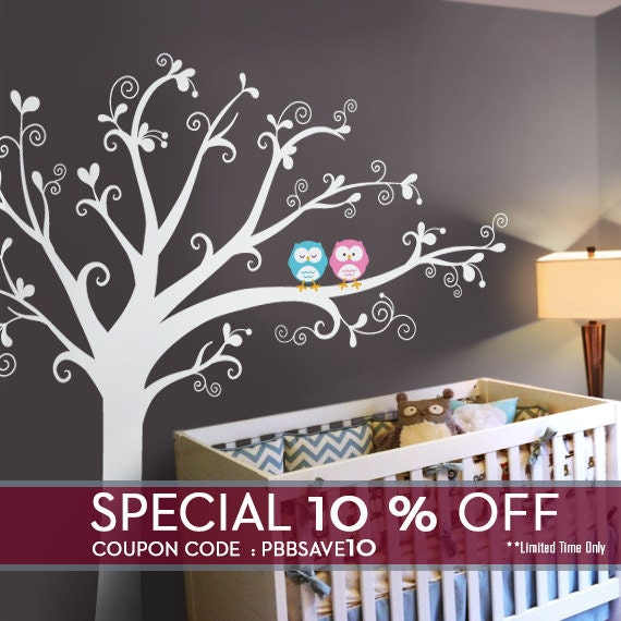 Owls & lovely tree Wall Decal - Nursery Wall Décor