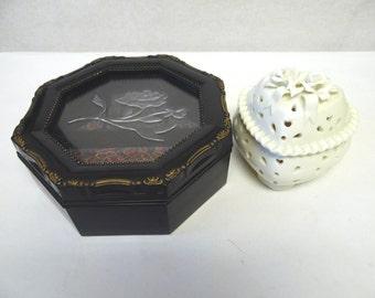 Black Rose White Jewelry Box Trinket Set of Two