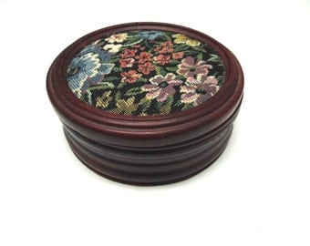 Tapestry Needlepoint Jewelry Box Mirror Top Wood