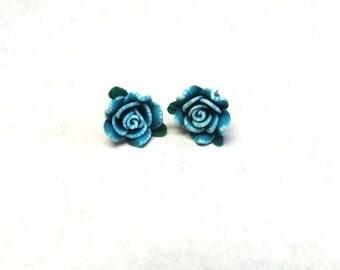 Teal Blue Rose Flower Earrings Post