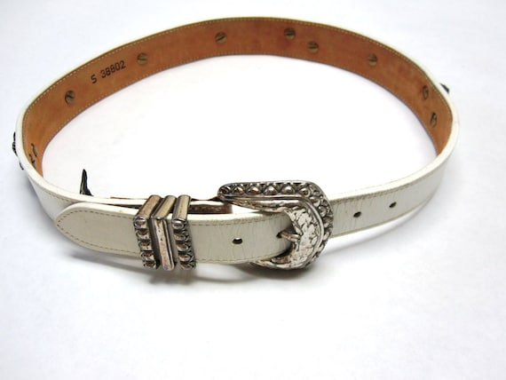 white leather belt brighton womens concho western style