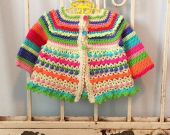 Pixie Stix Baby Sweater Crochet Pattern Girls Toddlers Sizes Newborn- 4T