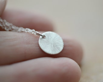 Small silver disc necklace, silver necklace, petite silver charm, layering necklace