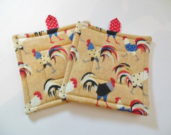 Pair  Rooster Fabric Potholders, Set of Two Quilted Potholders