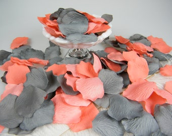 Coral & Grey Wedding Decoration, Artificial Rose Petals, 200, Flower Girl Basket Petals , Ceremony Petals Table Decor, Shower Decor