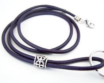 Leather Lanyard, Dark Purple, 3mm Leather, 28-38 inchs, Mens Lanyard, Id Lanyard, Badge Holder, Eyeglass Lanyard, Id Holder