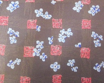 Vintage Wrapping Paper - Asian Flower Rapture - Full Sheet All Occasion Floral Gift Wrap