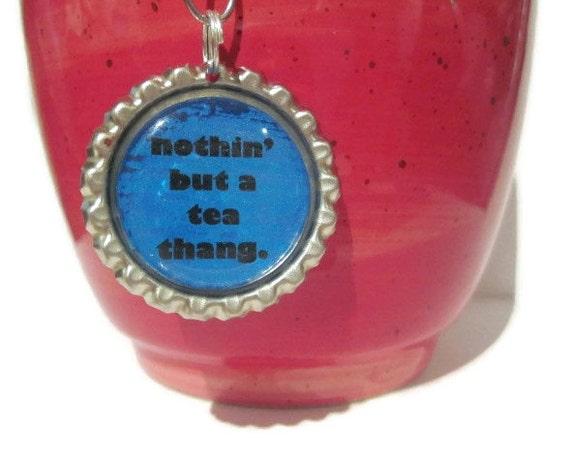 "Tea Infuser - Bottle Cap Charm - tea thang - 2"" Mesh Ball"