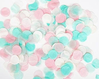 "Tissue Paper Confetti-Pink, Mint, and White-1"" Circle-Party Confetti/ Wedding Decoration"