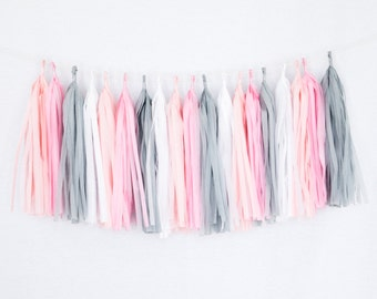 Tissue Paper Tassel Party Garland (20 Tassels Per Package) - 14 Inch Long Tassels (Pink-Coral-White-Gray)