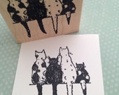 Four Cats on a Wall Wood Mounted Rubber Stamp 5654