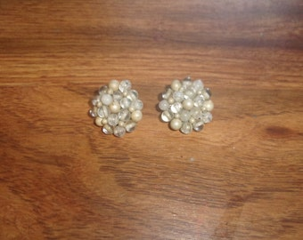 vintage clip on earrings glass bead clusters