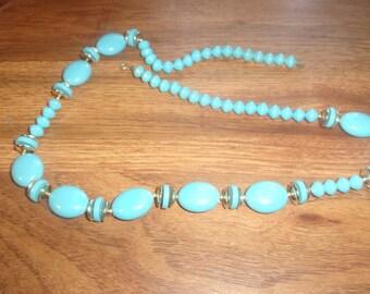 vintage necklace sky blue lucite