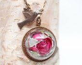 Red Rose Flower necklace - Rose flower, Glass dome pendant with chain, hemisphere - real pressed flower, botanical jewelry, gift under 50