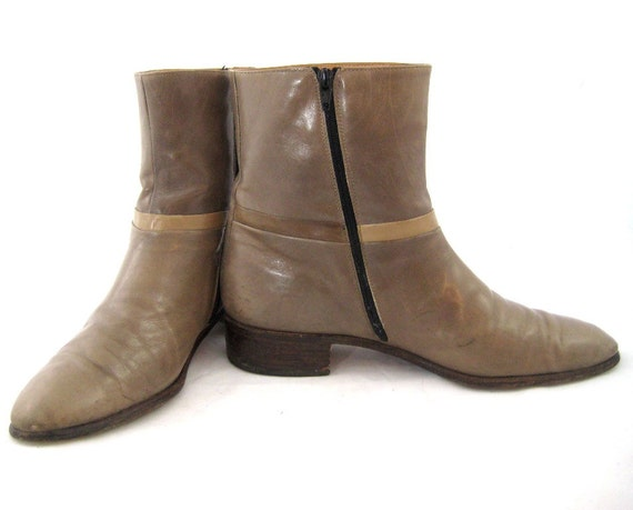 70s taupe boots leather ankle boots size 9 1 2 boots mens