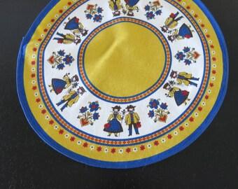 Vintage Swedish Round Cotton Doily Folk Dancers 445a