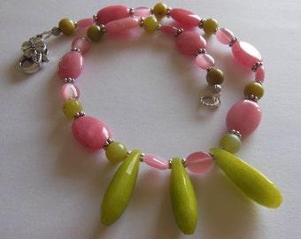 Roses on Green Jade handmade gemstone necklace  771