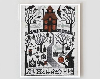 All Hallows Eve Book No. 180 : Prairie Schooler cross stitch patterns Halloween witch October Autumn harvest haunted house hand embroidery