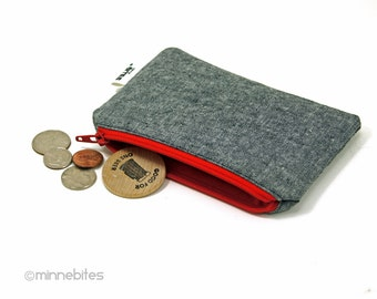 Men's Red Zip Pouch by MinneBites / Handmade Guys Tech Cord Case - Gray Vegan Coin Pouch - Fabric Card Wallet - Gift for Men - Ready to Ship