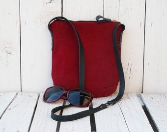 Leather crossbody purse, Suede leather crossbody bag, leather burgundy small Clutch dark red Teenager bag festival bag mini leather bag