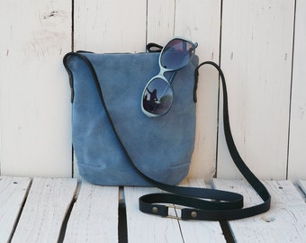 Suede leather crossbody bag blue small Purse Clutch Teenager bag festival bag mini leather bag