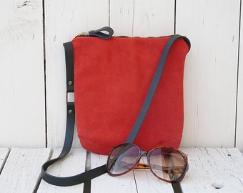 Suede leather crossbody bag, Minimalist leather purse, coral small Teenager festival bag, mini leather bag, birthday gift for girlfriends