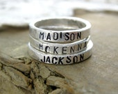 Rustic Personalized Stacking Ring // Custom Made // Fine Silver // Eco Friendly // Monogrammed Ring // Hammered Ring