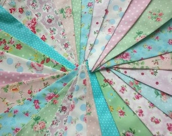 Shabby Chic Fabric Banners, Bunting, Garland, Wedding Bunting, Pennants, Flags, Pink, Green, Blue, Peach- 25 ft (extra long)