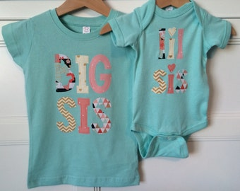 Big Sister Little Sister Matching Shirt and Onesie - Mint, Coral, Gold