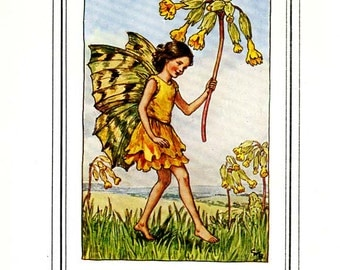 TTHE COWSLIP FAIRY Vintage Book Plate c 1940 Original Book Page Book of Flower Fairies Cicely M Baker