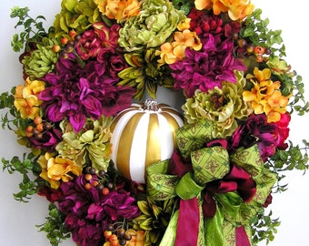 Autumn Wreath, Fall Wreath, Pumpkin Wreath, Halloween Wreath, Winter Wreath, Thanksgiving Wreath, Christmas Wreath, Christmas Door Wreath