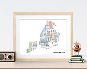 Boroughs of New York City Typography Map 8x10 Print
