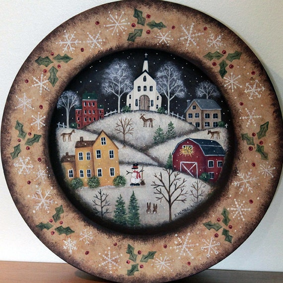 Painting Church In Snow Religious Christmas Ceramic: Christmas Folk Art Original Hand Painted Wood Plate MADE TO