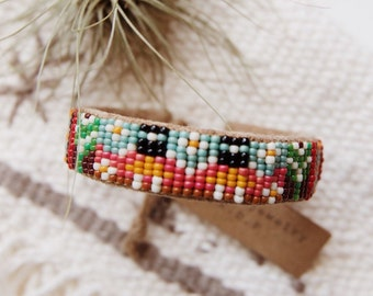 BC-08, handmade Native American inspired adjustable beaded  cuff bracelet