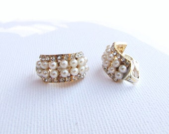 Classic crescent clip on earrings with small cluster pearl and rhinestones