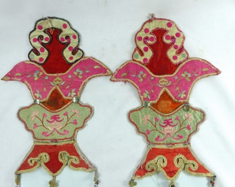 Antique Chinese Appliques  Heavy Embroidered Silk  Rare Set of 2 Decorative 1930s