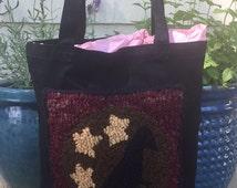 SALE Hand Hooked Rug Tote Bag - Primitive Crow