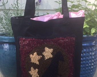 SALE Hand Hooked Rug Tote Bag - Primitive Crow