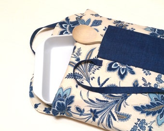 Casserole Carrier Tote Insulated Blue Floral with Denim Pocket--Ready to Ship
