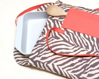 Casserole Carrier Insulated Gray Animal Print with Coral Pocket--Ready to Ship