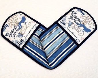 Double Oven Mitt Pot Holder Blue French Country --Ready to Ship