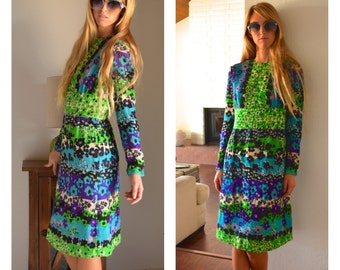 Vintage Groovy Psychedelic Flower Power Long Sleeve Paolino 1960s Dress Lined Zip up Back Tight Fitted Sleeves Green Purple Blue White Midi