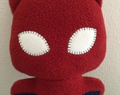 Spidercat the Eco friendly Upcycle Comic Cat, Plush Stuffed Animal Toy